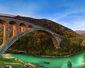 Solkan stone bridge over river Soča near